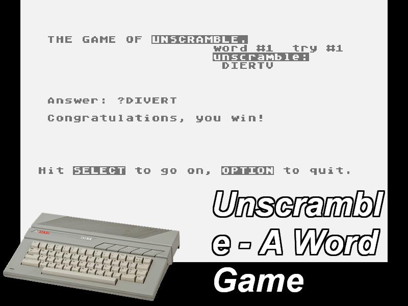 Unscramble - A Word Game - (Atari 800) - BoutiqueDuGeek fr